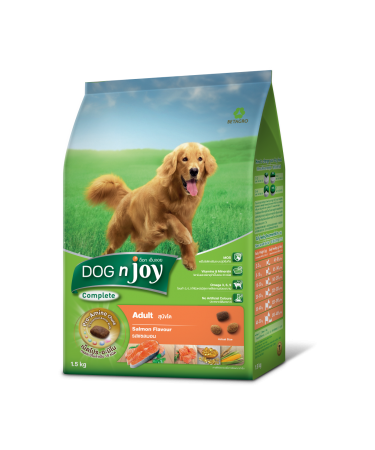 Bag mock-up#Dog n Joy adult all breed Salmon 1.5kg#Front re