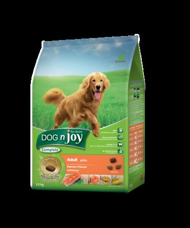 Bag mock-up#Dog n Joy adult all breed Salmon 1.5kg#Front re